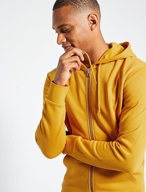Sweater met rits en capuchon 'Ecodesign'                                                                                         GEEL