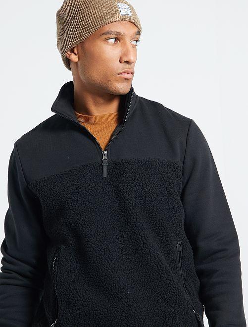 Sweater met ritskraag uit twee materialen                                         zwart