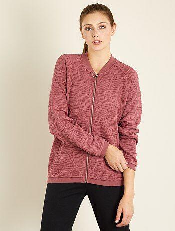 Sweater met ritssluiting van reliëftricot - Kiabi