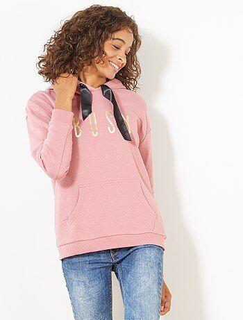 Sweater van joggingstof met capuchon - Kiabi