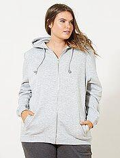 Sweater van joggingstof met een ritssluiting