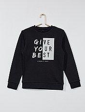 Sweater van joggingstof met fluwelen print