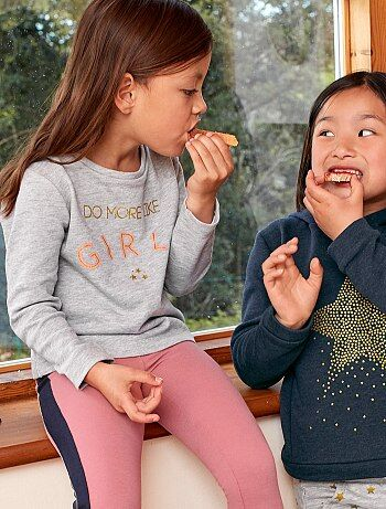 Sweater van joggingstof met glanzende print - Kiabi