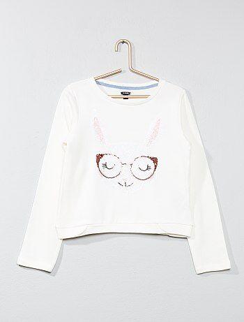Sweater van joggingstof met konijnenapplicatie van lovertjes - Kiabi