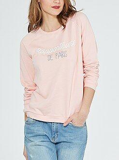 Sweater - Sweater van joggingstof met opschrift