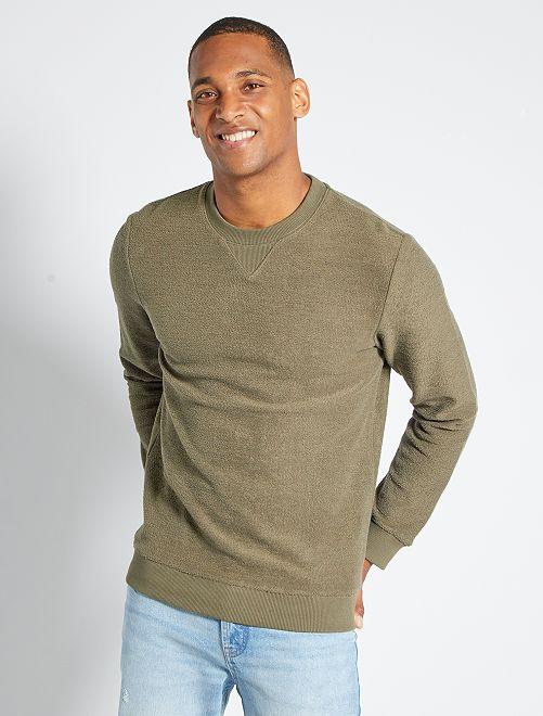Sweater van omgekeerd molton                                         KAKI