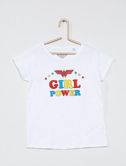T-shirt 'Girl Power'                             wit