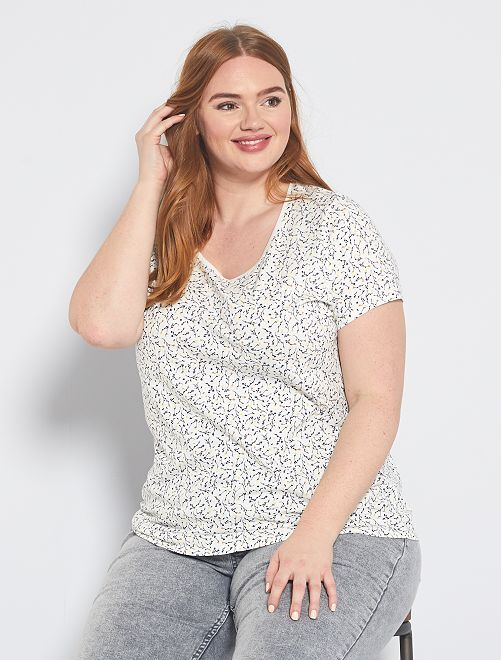 T-shirt met all-over print                                                                                                                                         WIT