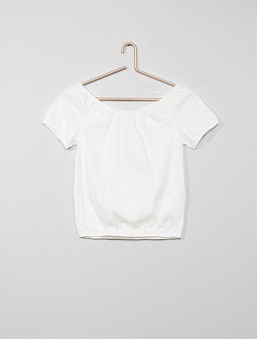 T-shirt met bardothals                                                                 sneeuw wit Kinderkleding meisjes