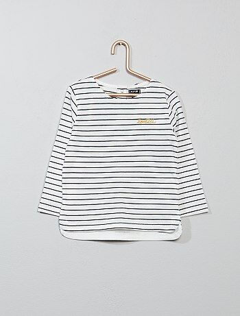 Meisje 0-36 maanden - T-shirt met borduursels op de borst - Kiabi