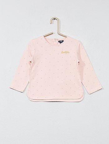 T-shirt met borduursels op de borst - Kiabi
