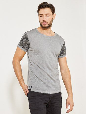 T-shirt met camouflagemouwtjes - Kiabi