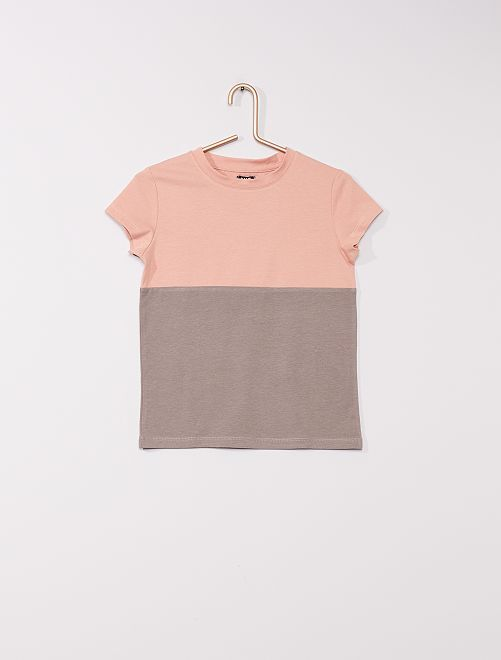 T-shirt met color block                                                     GRIJS