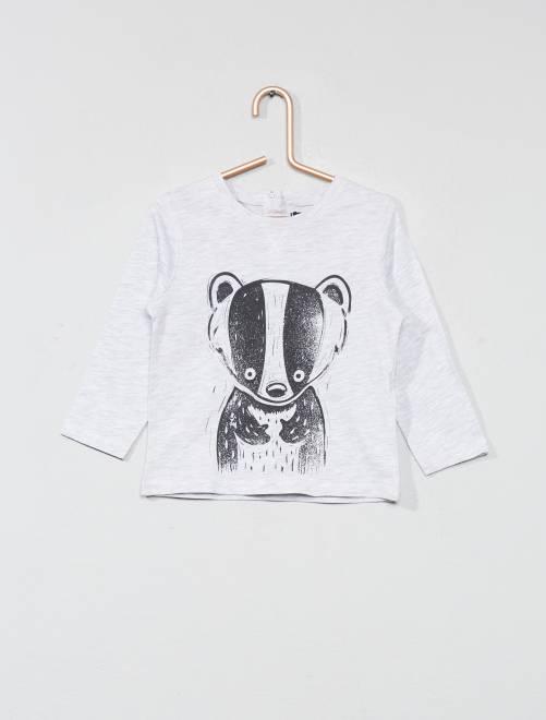 T-shirt met dierenprint GRIJS Jongens babykleding
