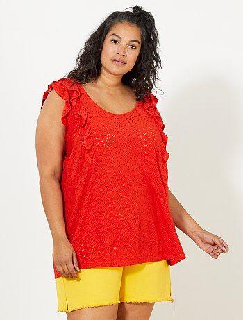 Dames Size+ - T-shirt met een geborduurd inzetstuk - Kiabi