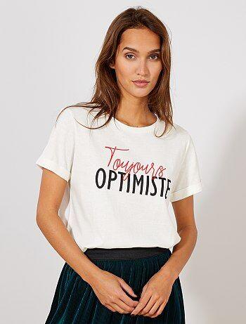 e5259621220 Damesmode maat 34-48 - T-shirt met een opschrift - Kiabi
