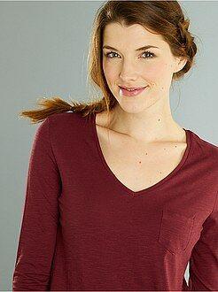 T-shirt met een V-hals en lange mouwen van gevlamd tricot