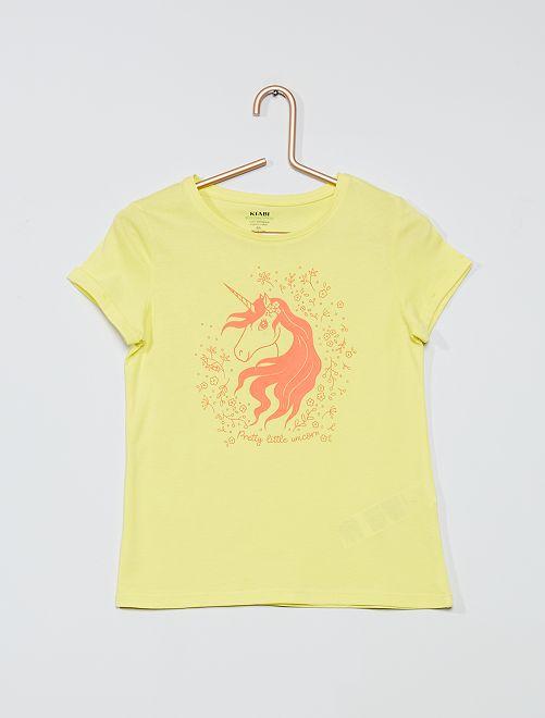 T-shirt met eenhoornprint 'Ecodesign'                                                     GEEL