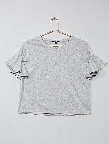 T-shirt met fladderende mouwen - Kiabi