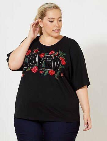 T-shirt met geborduurde bloemen - Kiabi