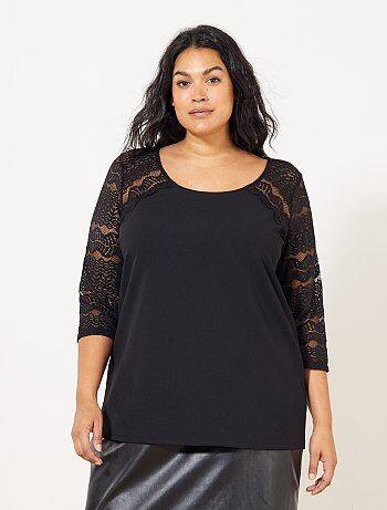 Dames Size+ - T-shirt met kanten mouwen - Kiabi