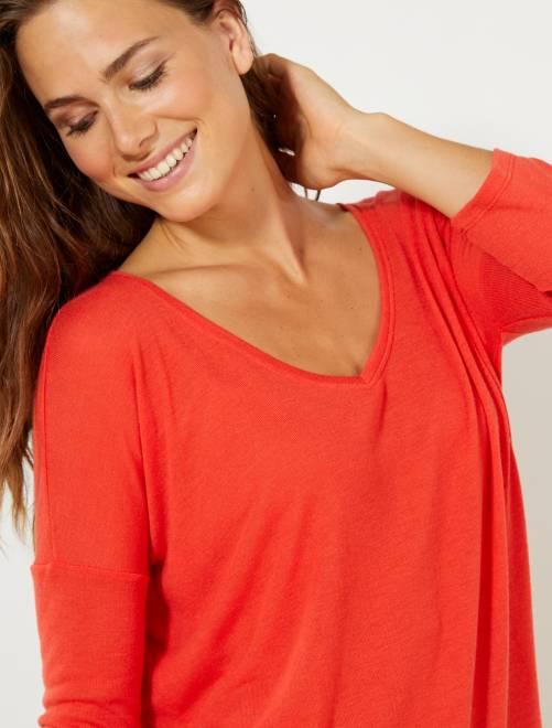 T-shirt met lange mouwen                                         rood Dameskleding