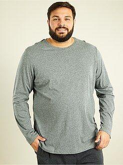Herenmode grote maten - T-shirt met lange mouwen van 100% katoen - Kiabi