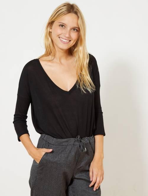 T-shirt met lange mouwen                                         zwart Dameskleding