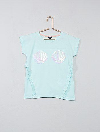 T-shirt met lovertjes en ruches - Kiabi