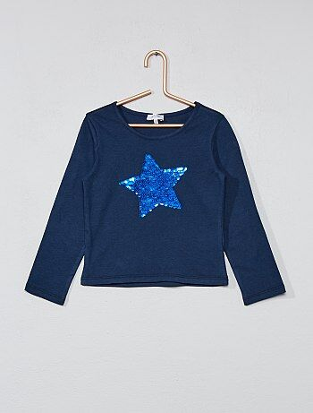 Meisjeskleding 3-12 jaar - T-shirt met omkeerbare lovertjes - Kiabi