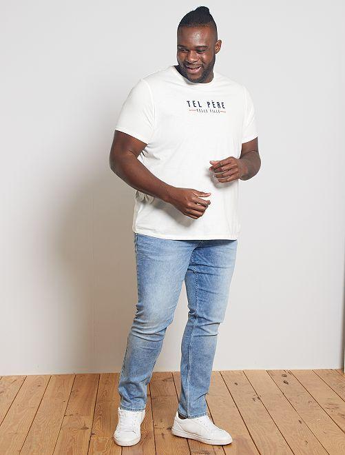 T-shirt met opschrift vader/dochter                                                     WIT
