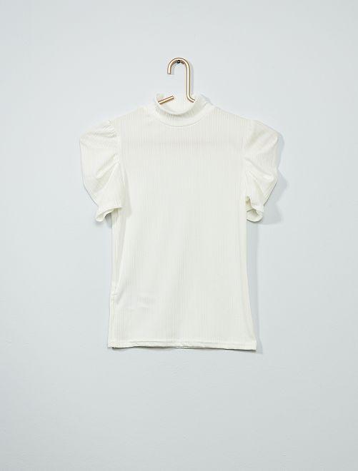 T-shirt met opstaande kraag                                         sneeuw wit