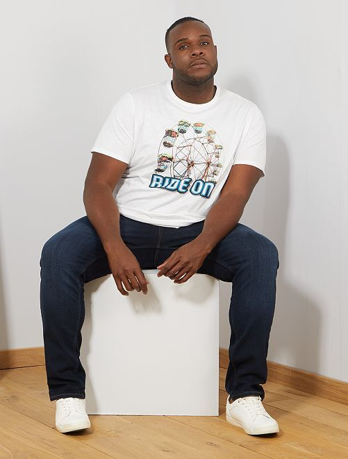 T-shirt met print                                         BLAUW Herenmode grote maten