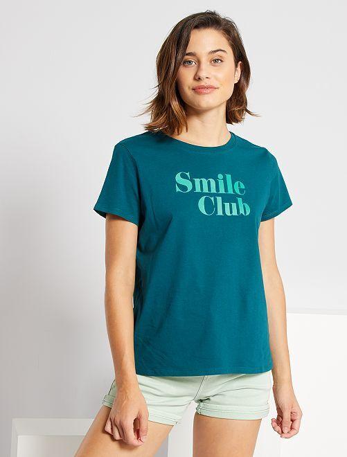 T-shirt met print 'Ecodesign'                             GROEN