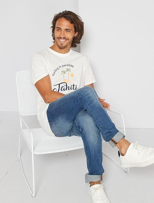 T-shirt met print 'Ecodesign'                                                                                                                                         WIT