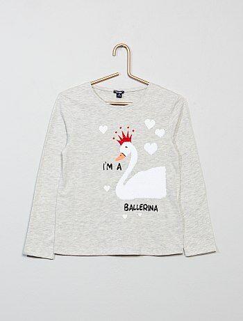 T-shirt met print en omkeerbare lovertjes - Kiabi