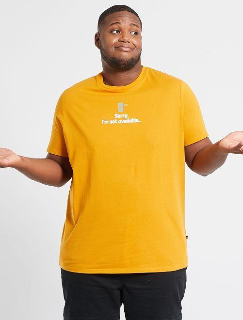 T-shirt met print                                                                                         GEEL