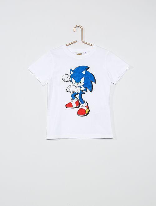 T-shirt met print 'Sonic'                             WIT