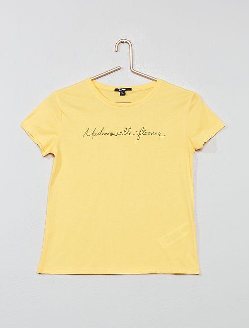 T-shirt met print van 'Mademoiselle flemme'                                                     GEEL Kinderkleding meisje