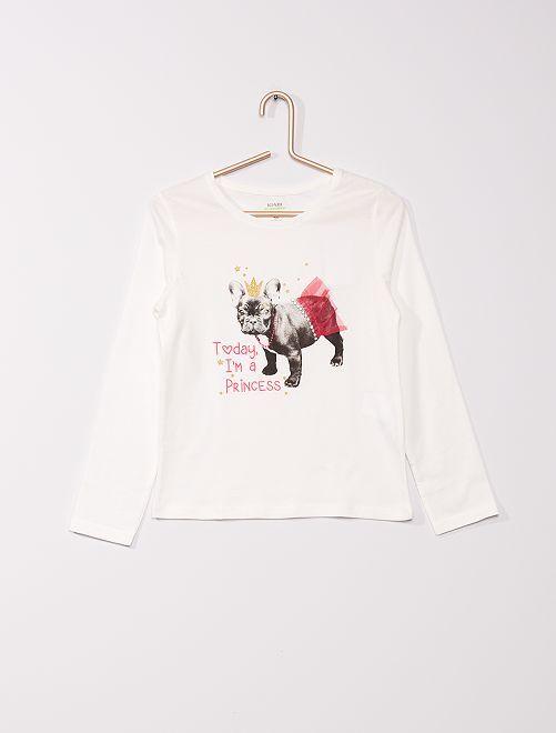 T-shirt met reliëfmotieven 'Ecodesign'                                                                             BIEGE