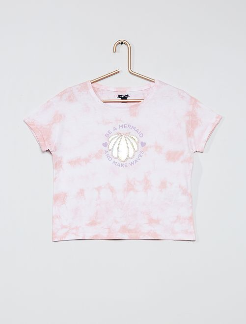 T-shirt met reliëfprint                                         ROSE
