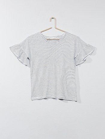 T-shirt met ruches op de mouwen - Kiabi