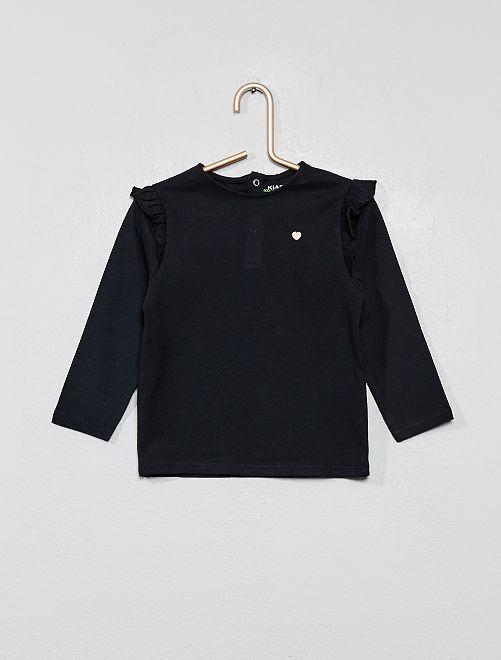 T-shirt met ruches                                                                 zwart Meisjes babykleding