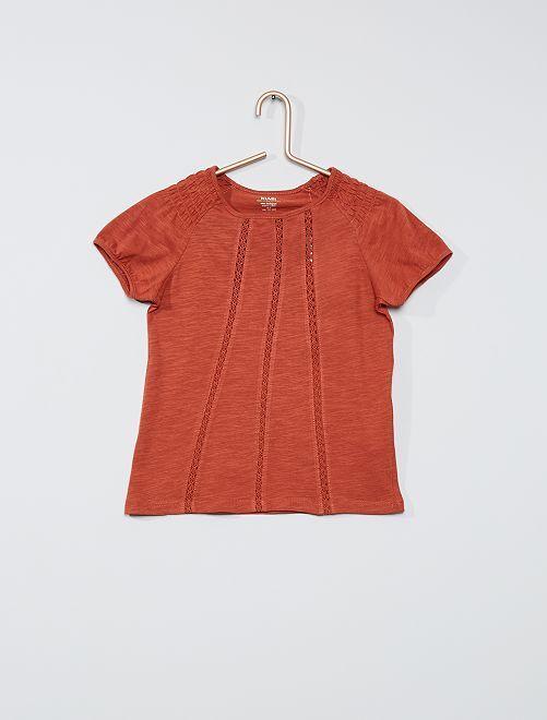 T-shirt met smokwerk 'Ecodesign'                                                                                                     ORANJE