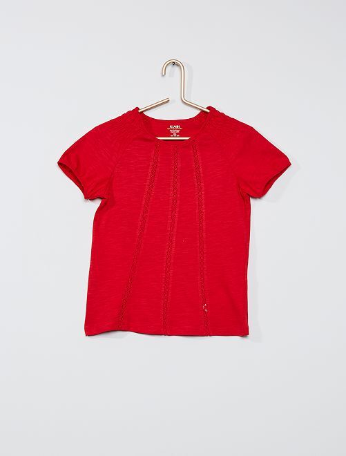 T-shirt met smokwerk 'Ecodesign'                                                                                         ROOD
