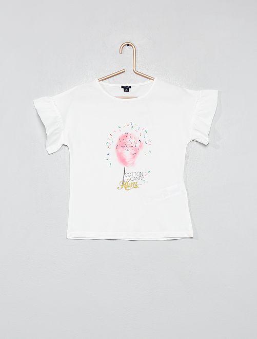 T-shirt met suikerspin                                         WIT Kinderkleding meisjes