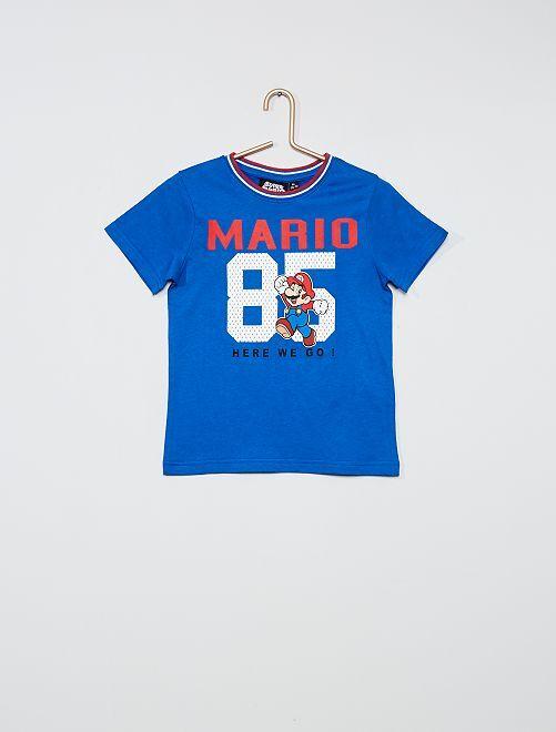 T-shirt met 'Super Mario'-print                             BLAUW