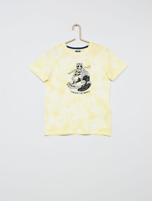 T-shirt met 'tie and dye'-print                                         GEEL