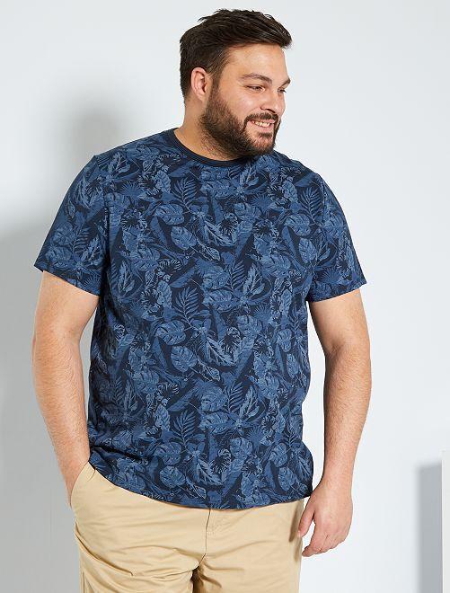 T-shirt met tropische print                                         BLAUW