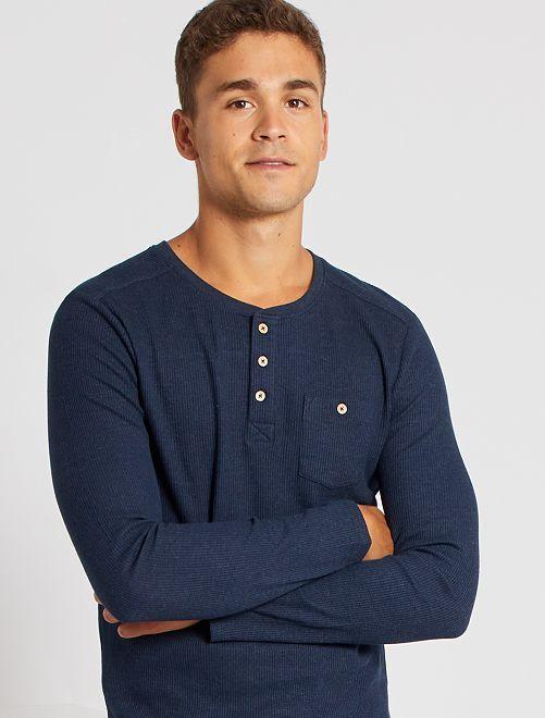 T-shirt met Tunesische kraag 'Ecodesign'                                                                 BLAUW